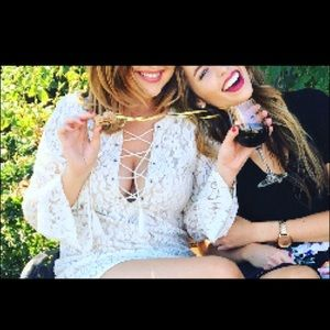Forever 21 Lace White Long-sleeve Dress